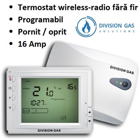 Termostat-Division-Gas-908-RF-ambient-radio-centrala-wireless-fara-fir